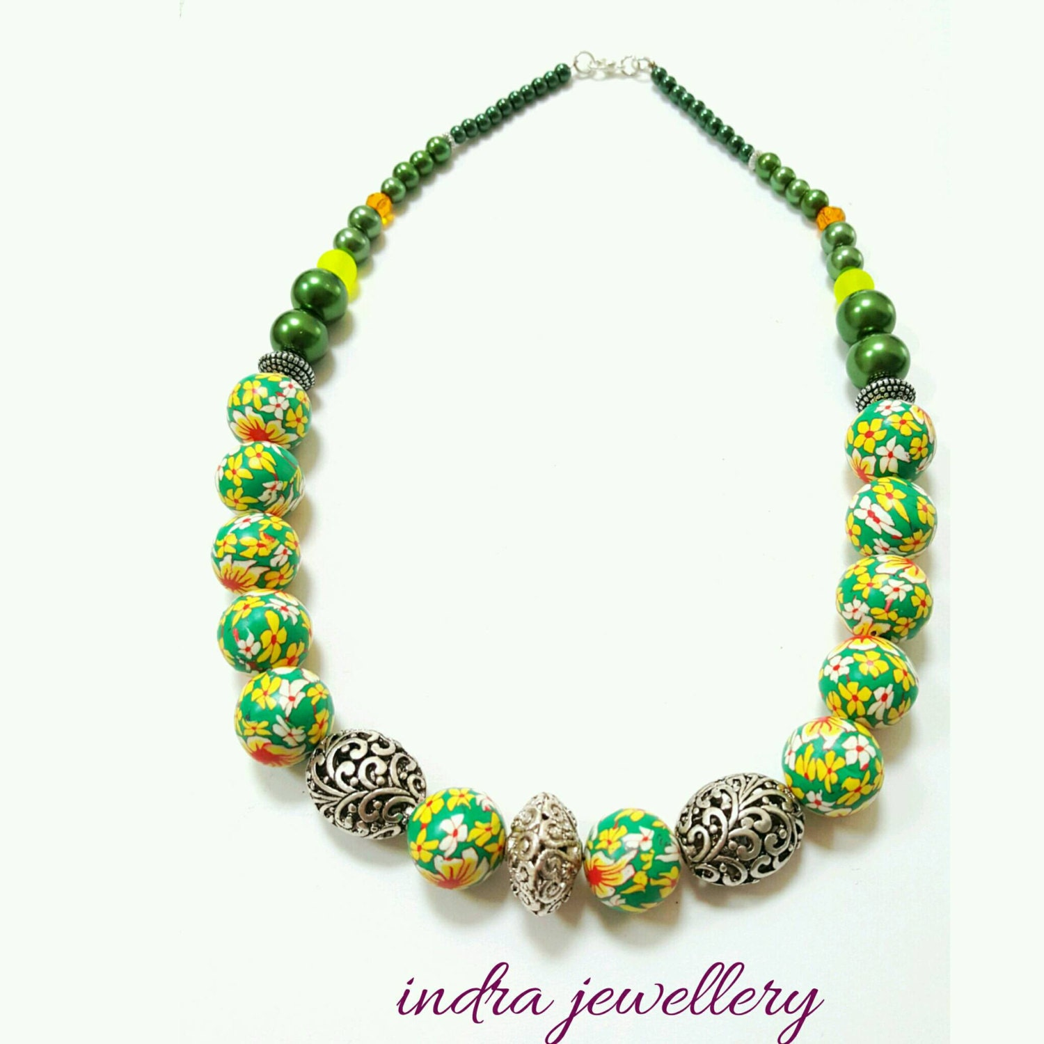 chunky beaded necklace green polymer clay necklace green and