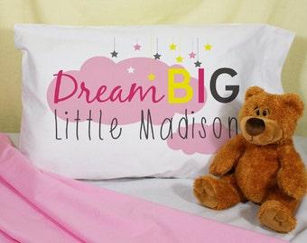 Dream Big Little One Pillowcase, Pillow Case, Kids Personalized, Custom , Monogrammed Pillowcase, Pillow Case, Girls Pillowcase, Pillow Slip