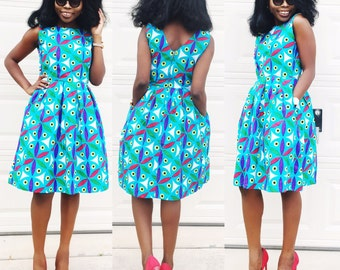 African ankara women dress with two sides pockets, knee length African print dress, African clothes.