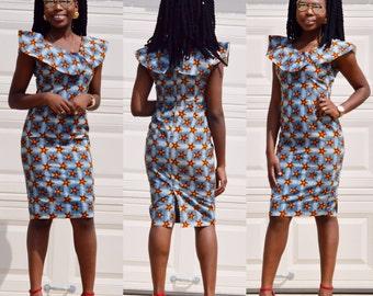 African Ankara fitted knee length dresses  Ankara  print