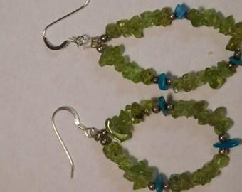 Vintage Handmade Sterling Silver Jade & Turquoise Earrings
