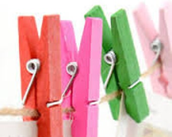 25pcs Mini Pegs in Natural Wood / 35mm Solid Color Wooden Clothes Pins / Clothes peg CP004