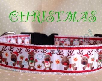 Prancing Reindeer Christmas Dog Collar