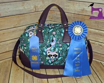 Brooklyn Traveler Bag Large Handbag/Overnight Bag in OOP VHTF Tula Pink Acacia Raccoons in Blueberry - Ready To Ship!!!