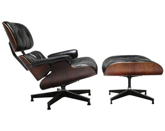 Rosewood and Leather Eames 670 Lounge Chair and Ottoman