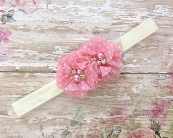 Peach pink baby headband-light pink polka dot ivory baby headband-pink and ivory baby headbands-newborn headbands-peachy pink baby headband-