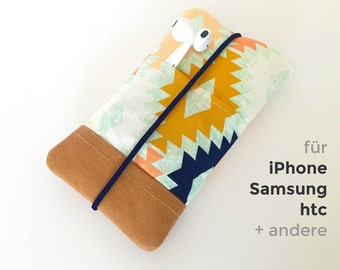 Samsung / iPhone Fabric Phone Case with vegan leather