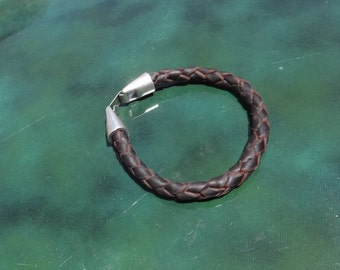 leather bracelet with silver plated clasp, custom-made, black leather clear or dark brown leather, braided leather bracelet leather