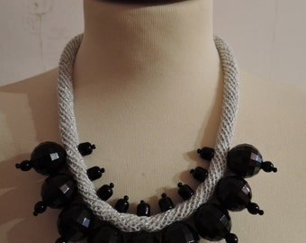 Handmade silver cotton crochet beaded necklace