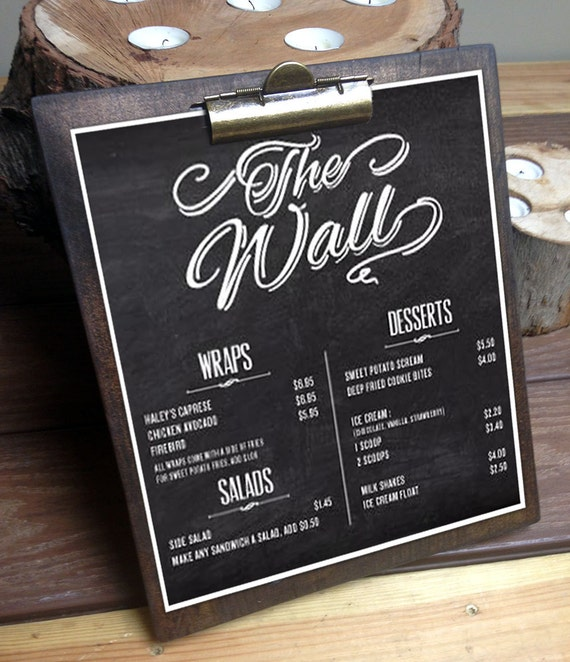 Just Like Home Toy Restaurant Menu : Menu clipboards large restaurant boards rustic