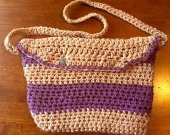 Purple and Beige Crocheted Messenger Bag