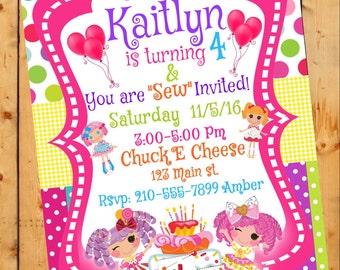 Lalaloopsy, Lalaloopsy Birthday Invitation, Lalaloopsy Doll Party, Birthday Invitation, Polka dots,Party invitations, Digital File (Sale)