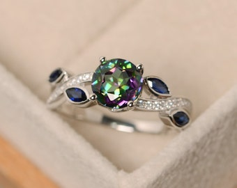 Mystic topaz ring, rainbow topaz, sterling silver, engagement ring
