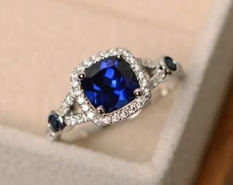 Sapphire engagement ring, cushion cut, blue sapphire ring, blue gemstone ring silver