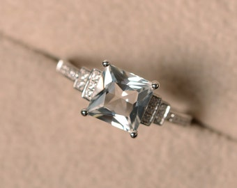 White topaz ring, anniversary ring, princess cut ring, engagement ring