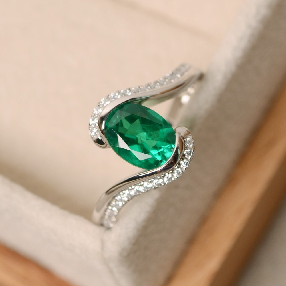 Emerald Ring Oval Cut Ring Emerald Engagement Ring Green