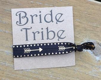 Bride Tribe. Bachelorette Party Favor. Arrow Hair Tie.  Hair Accessory.