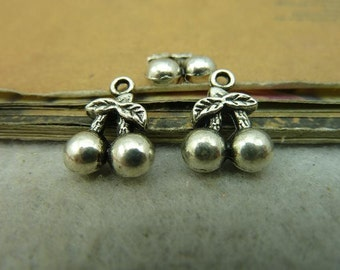 20 Cherry Charms Antique Silver Tone 3 D