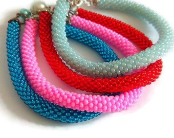 Colorful beaded flexible  crochet bracelets