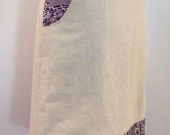 A-line Linen Skirt with upcycled Vintage Japanese Kimono Silk panel and pockets, in purple and white