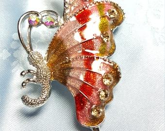 Enamel Butterfly Brooch Pin with Rhinestones