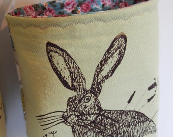 Hare and wild grasses fabric storage basket - Screen printed