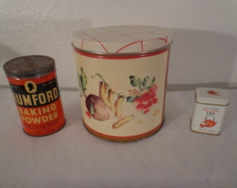 Vintage Tins - Floral Canister - Rumford Baking Powder - Cha Ching Tea Tin