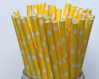 Paper Straws, Yellow Paper Straws, Heart Paper Straws, Sipping Straws, Drinking Straws, Party Straws, Party Decor, Pary Decoration, 10 pcs