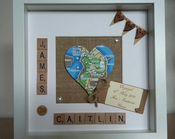 Heart Map, Personalised Wedding location gift, Engagement location  Marriage,New Home location Picture, Wall Art ,Mr & Mrs