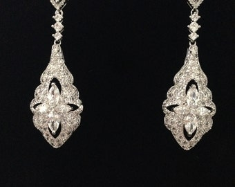 Stunning Platinum plated Earring Fashion Water Drop Design Long Women Earrings