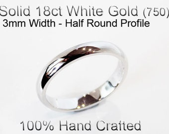 18ct 750 Solid White Gold Ring Wedding Engagement Friendship Half Round Band 3mm