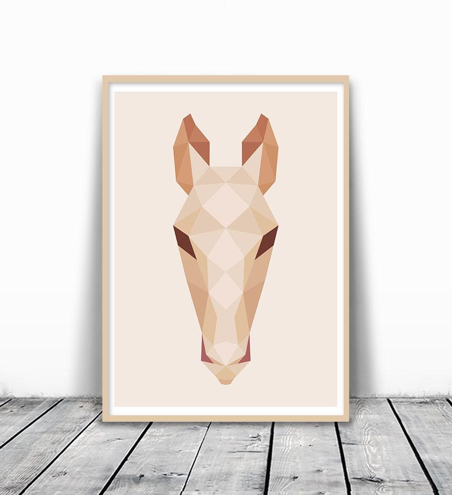 geometric deer art deer print minimalist deer deer head
