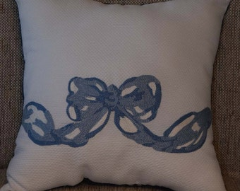 Blue Bow Pillow