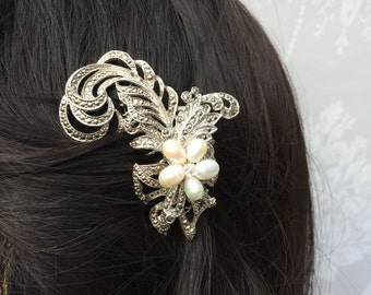 Vintage feather bridal hair comb - wedding hair accessory - Marcasite hair comb - Crystal bridal hair comb