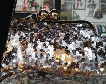 """Silver, Gold, and Bronze Sequined 10"""" Clutch"""