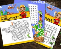 Mario Maker Activity Sheets | Super Mario Maker Birthday Party Activities | Printable Instant Download Activity Sheets