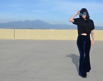 Navy velvet Bell Bottoms Leggings Pants Festival Coachella Fashion bells gypsy beach boho