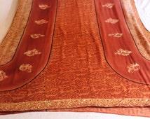 bollywood sari, saree,Indian sari,deco fabric,sarong, fabric ,scarf, 5 yards fabric,boho curtains,home decor sari,used sari,printed sari