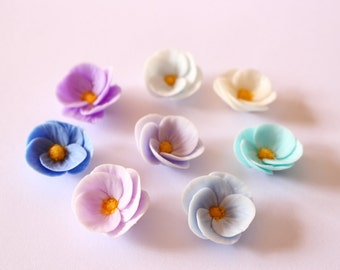 Set of 8 handmade resin clay flowers,  for jewelry making, crafting, decoration /R50