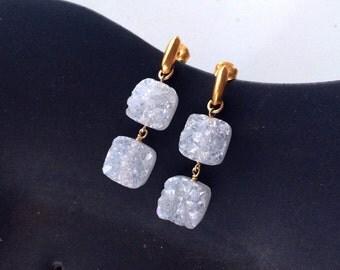 Sterling Silver/24K Gold Vermeil Sparkling Titanium White Agate Druzy Sugar Cube Dangle Earrings