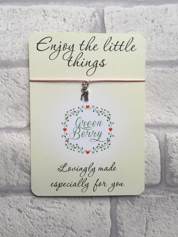 "Bambi Deer charm String Bracelet on ""Enjoy the little things"" quote card madebygreenberry wish bracelet"