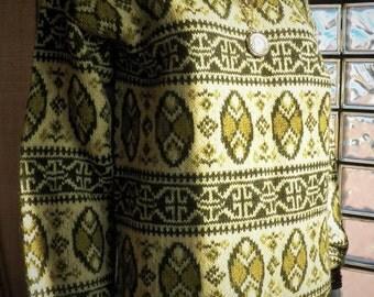 Ski Sweater Vintage Boatneck Heavy Knit Olive Celery Avocado Medium Wool Blend Fair Isle