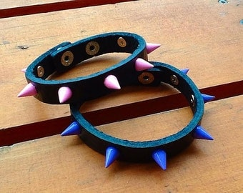 Spiked Genuine Leather Punk Goth Bracelet - Pink or Purple Spiked