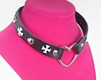 Vegan Leather Cross Studded Choker -  White Cross with Silver Heart