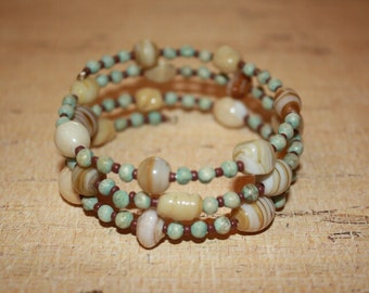 Natural, cream, aqua bracelet