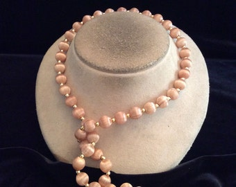 Vintage Long Light Brown Nylon Beaded Necklace