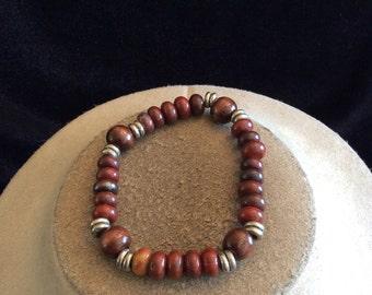 Vintage Brown & Burgandy Glass Beaded Bracelet