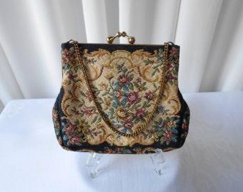 Vintage Petit Point Purse Handbag Black and Cream Floral Design