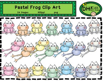 Frog Clip Art - Pastel Frogs - Digital Clipart - Instant Download