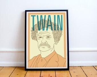 Twain Print! Mark Twain Poster, America, Adventures of Huckleberry Finn, Tom Sawyer